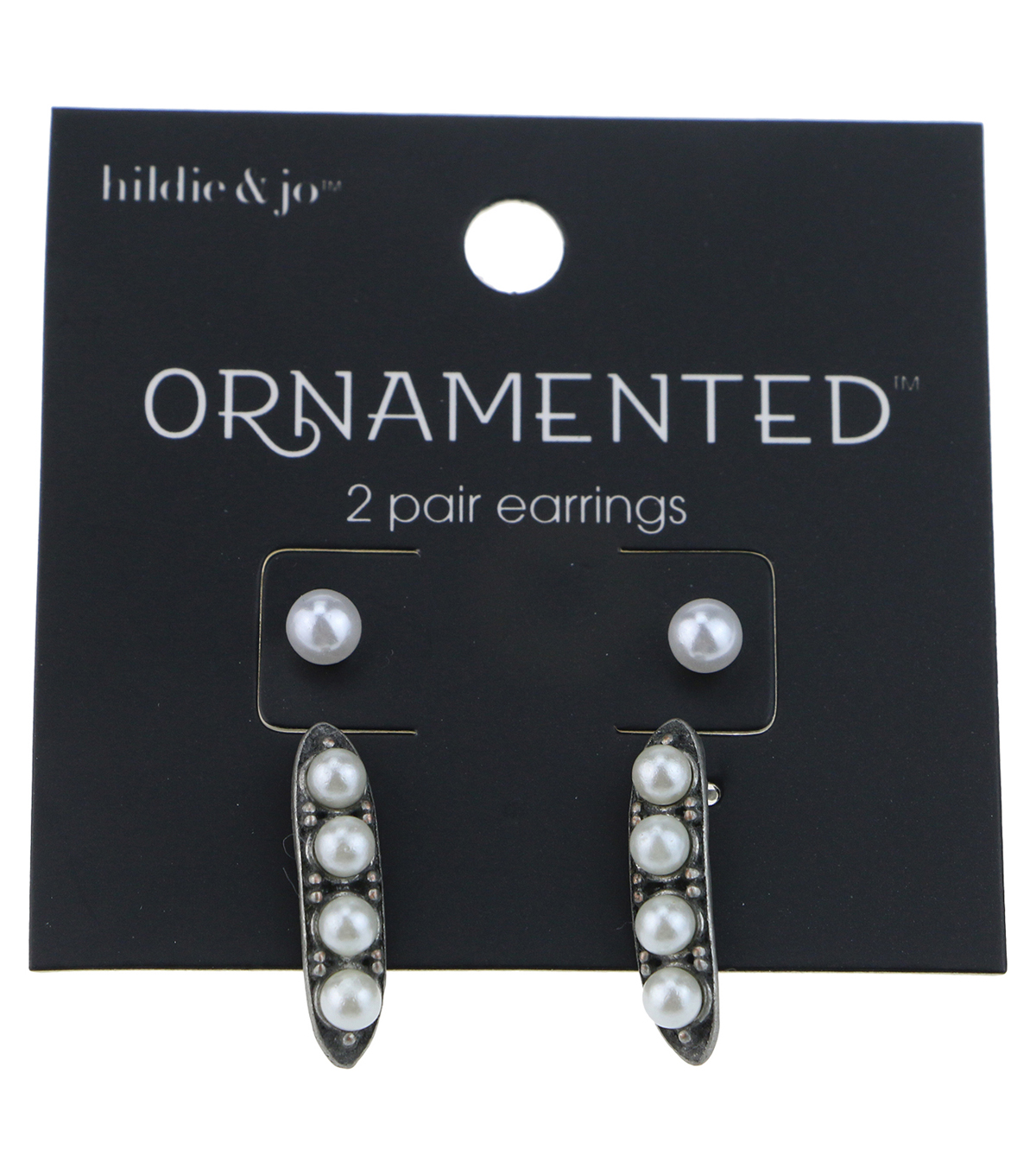 hildie & jo™ Ornamented 2 Pack Antique Silver Earrings-Pearls