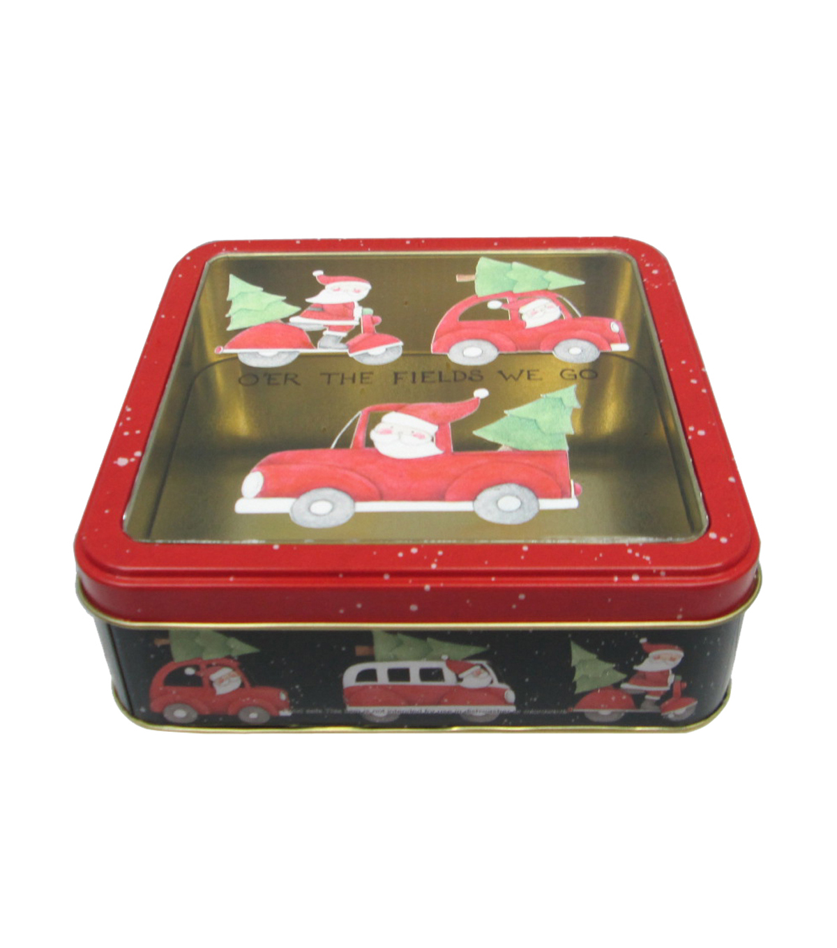 Maker's Holiday Small Square Cookie Tin With Clear Top-Santa Truck