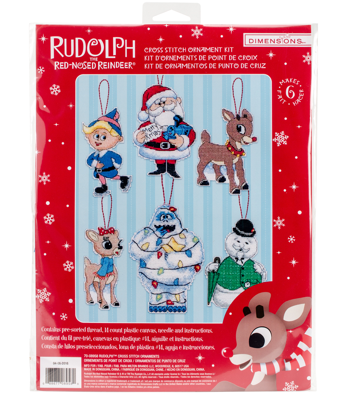 Rudolph Ornaments Plastic Canvas Cross Stitch Kit Tall Set Of 6