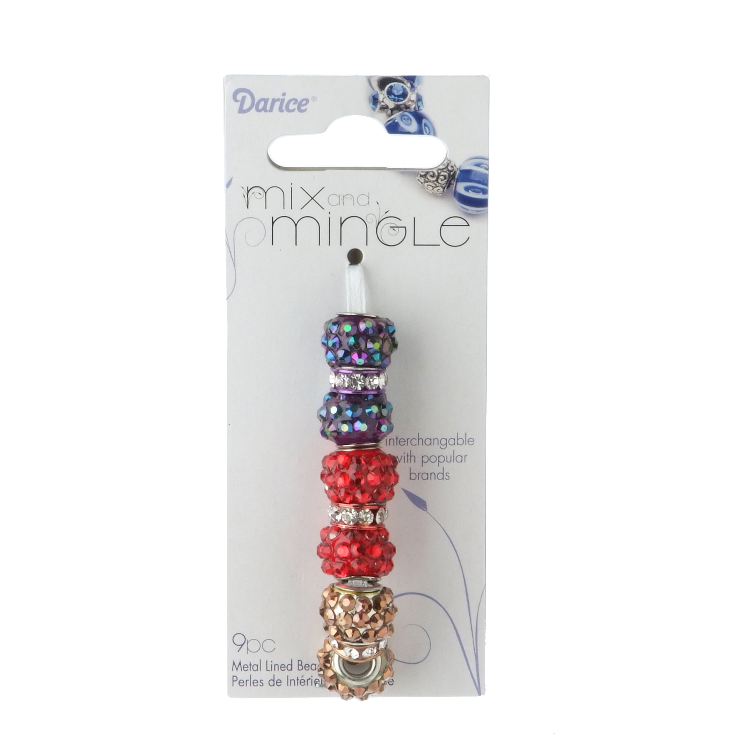 Mix and Mingle Glitter Ball Red, Purple, Brown Beads w/Rhines. Spacers