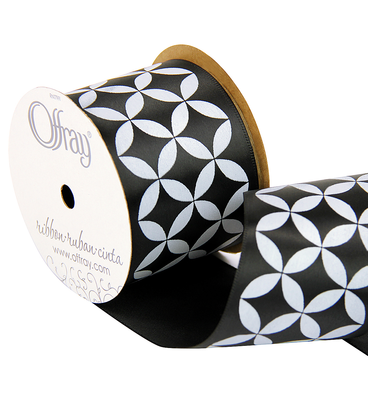 Offray 2.25\u0022 x 9\u0027 Geo Ribbon-White/Black