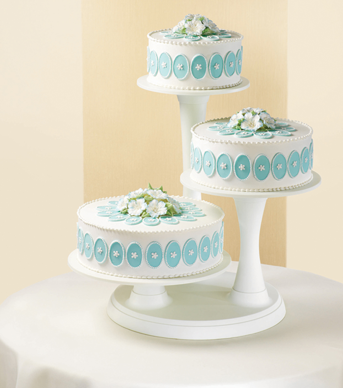 Wilton 3 Tier Pillar Cake Stand Off White