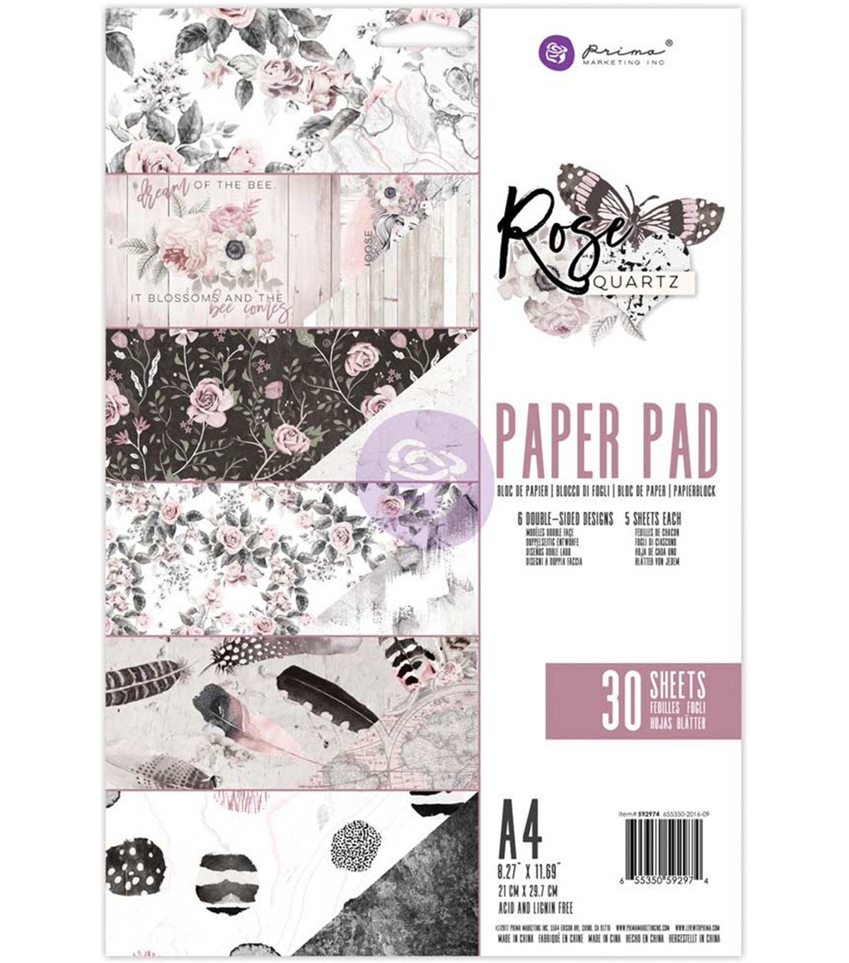 Prima Marketing Double-Sided Paper Pad A4-Rose Quartz