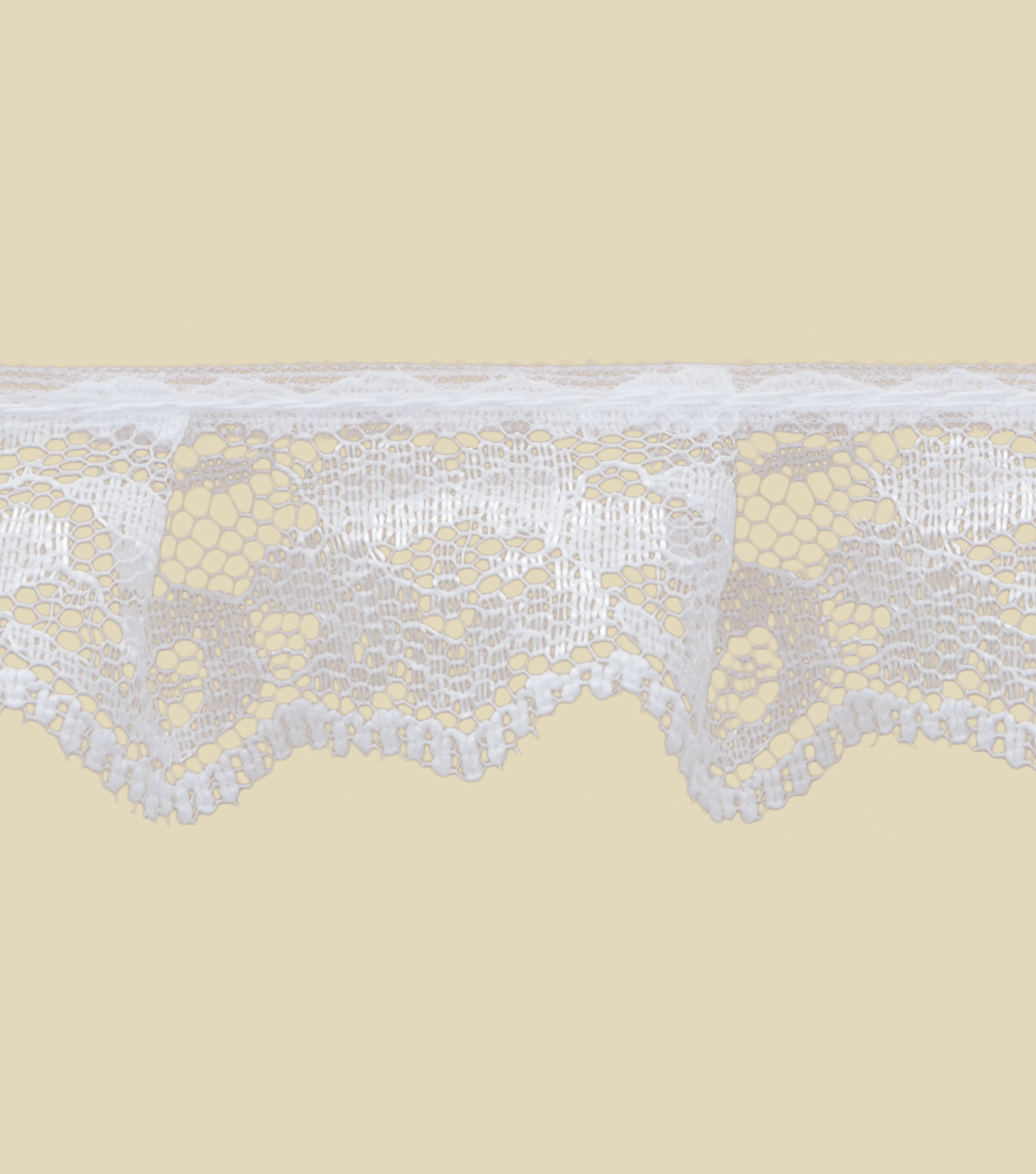 1 1/8\u0022 White Lace Apparel Trim