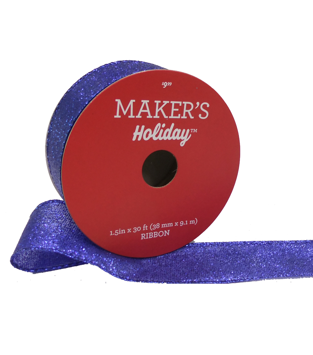 Maker\u0027s Holiday Christmas Glitter Ribbon 1.5\u0027\u0027x30\u0027-Blue
