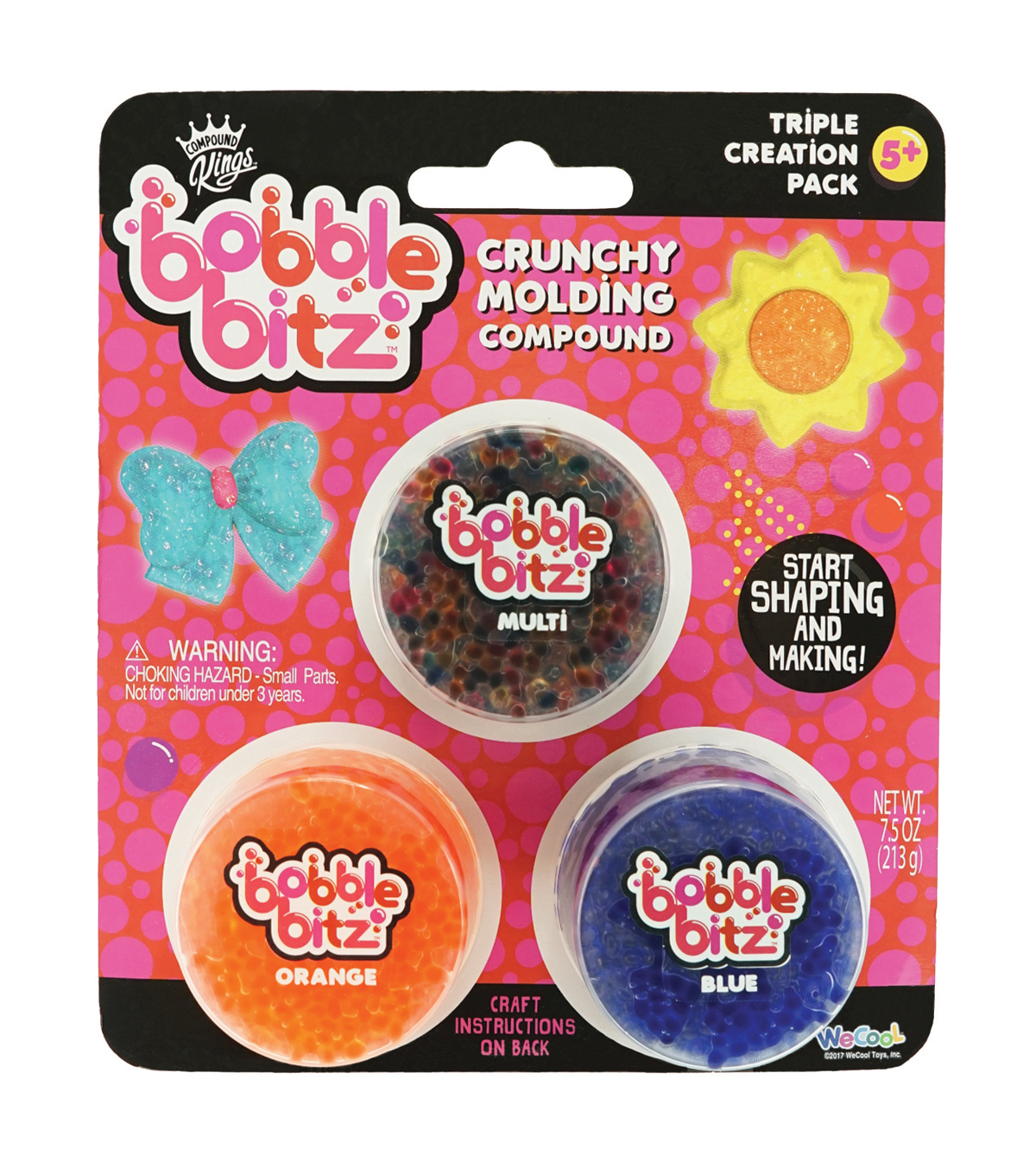 Bobble Bitz Crunchy Molding Compound Triple Pack-Multi, Orange & Blue
