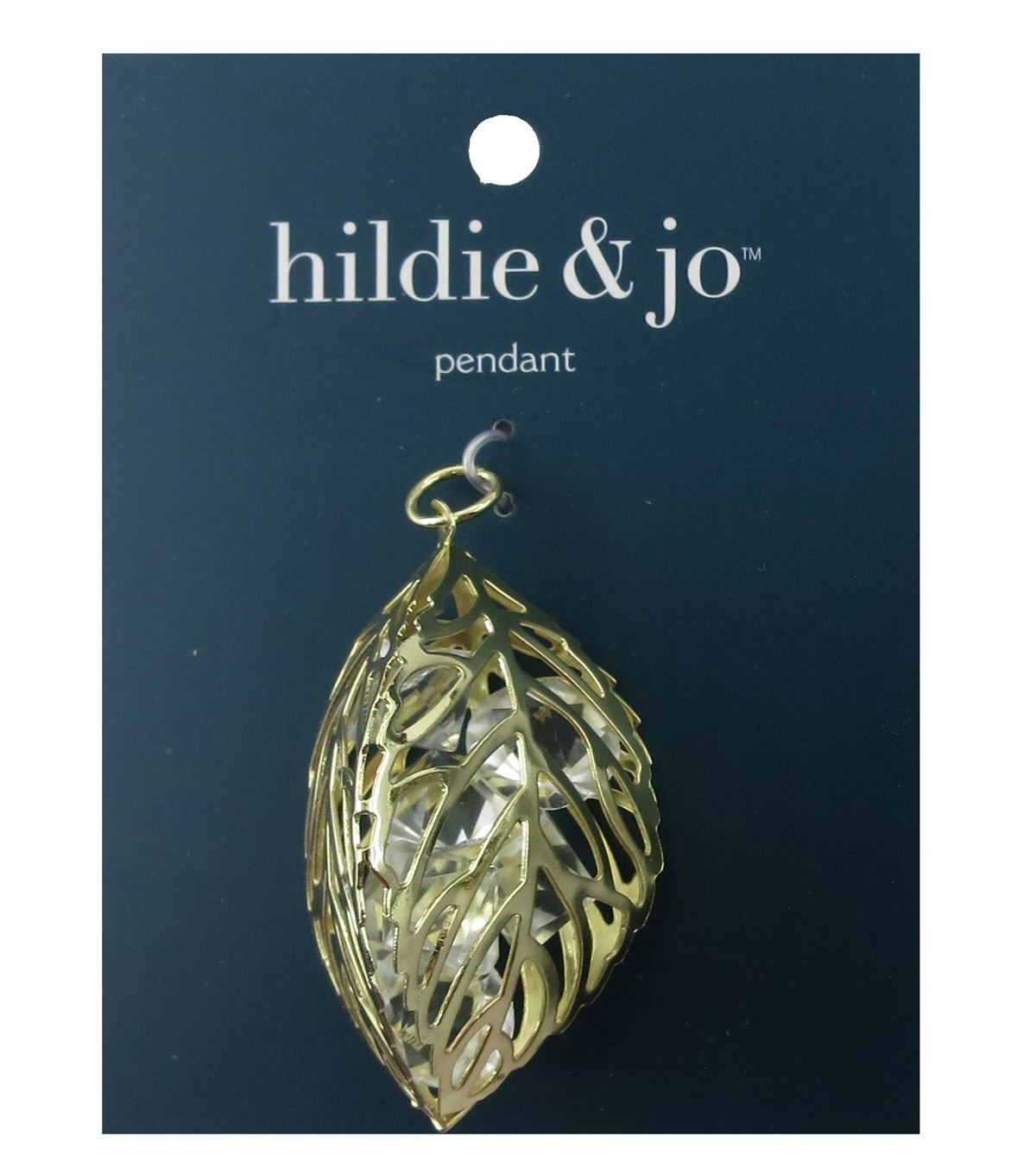 hildie & jo™ Three Open Leaf Gold Pendant-Clear Diamond Crystals
