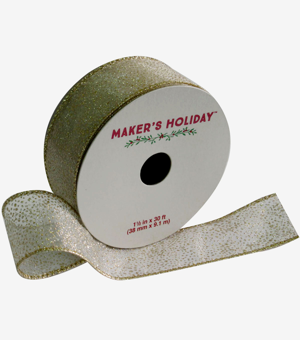 Maker's Holiday Sheer Ribbon With Glitter 1.5''x30'-Ivory