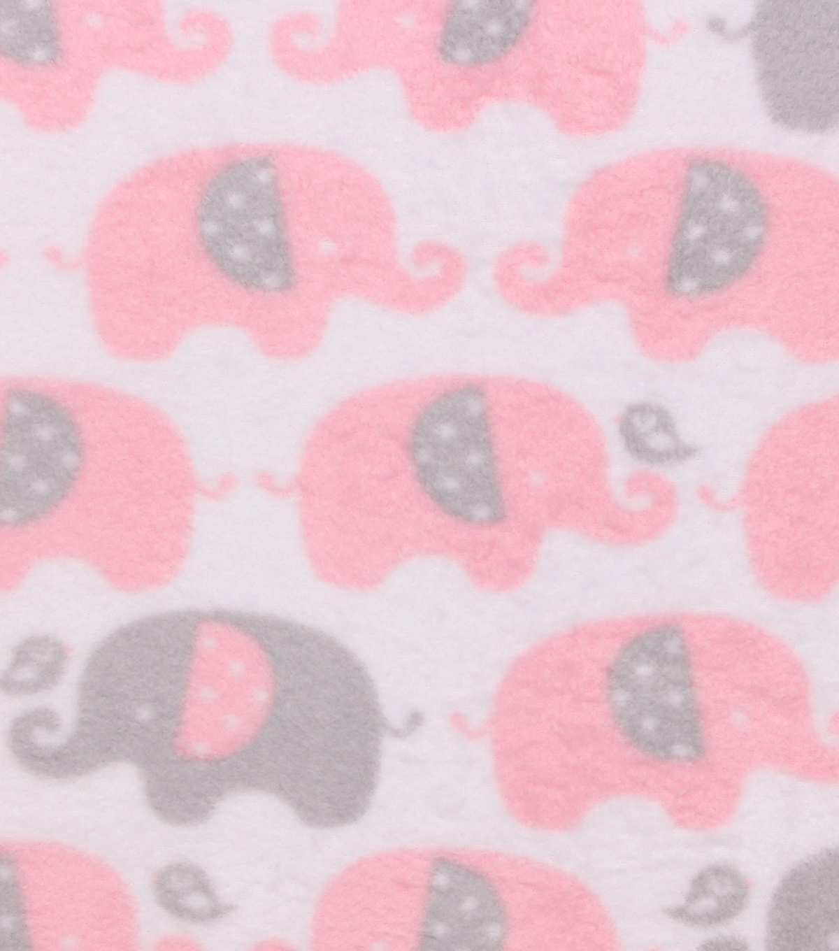 Nursery Fleece Fabric 55''-Pink In Line Elephants