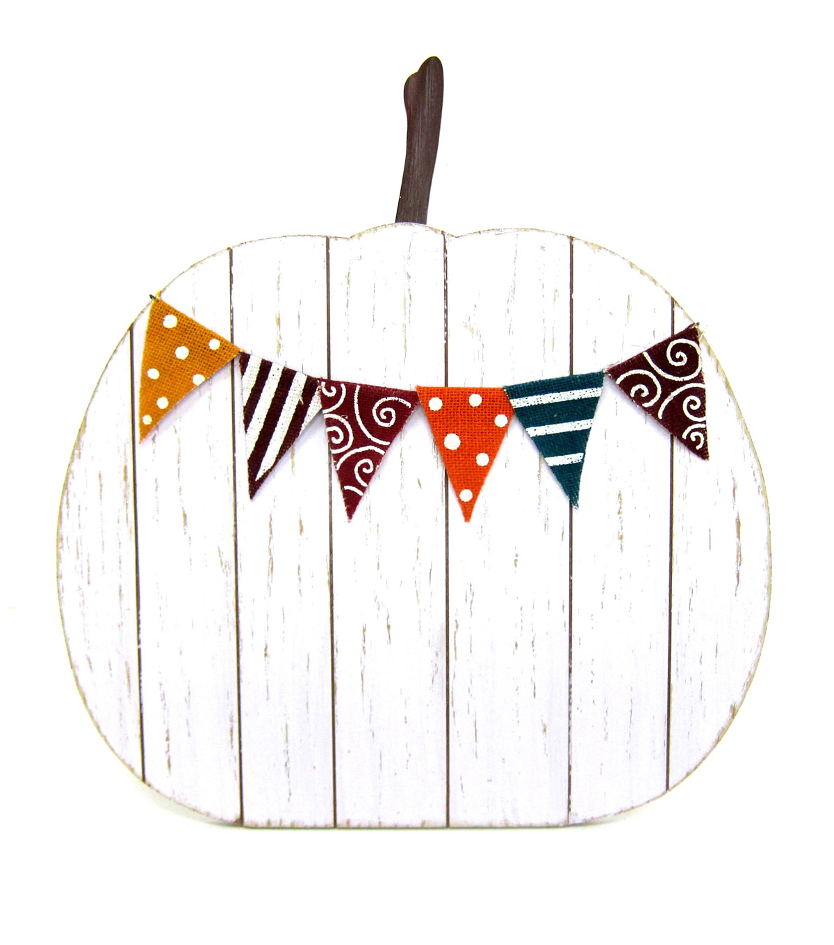 Fall Into Color Wood Pumpkin Porch Sign-White