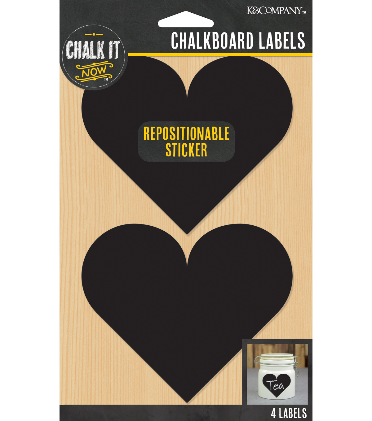 Large Heart Chalkboard Labels Eo