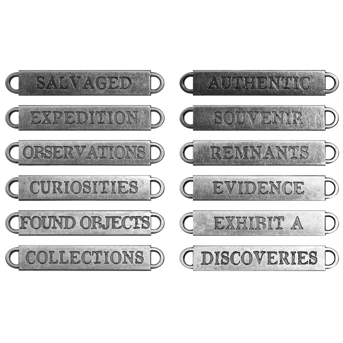 Idea-Ology Metal Word Bands 12/Pkg-Antique Nickel Observations .375\u0022X2.25\u0022
