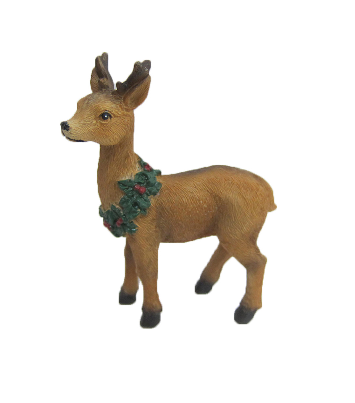 Maker\u0027s Holiday Christmas Littles Resin Standing Deer with Wreath