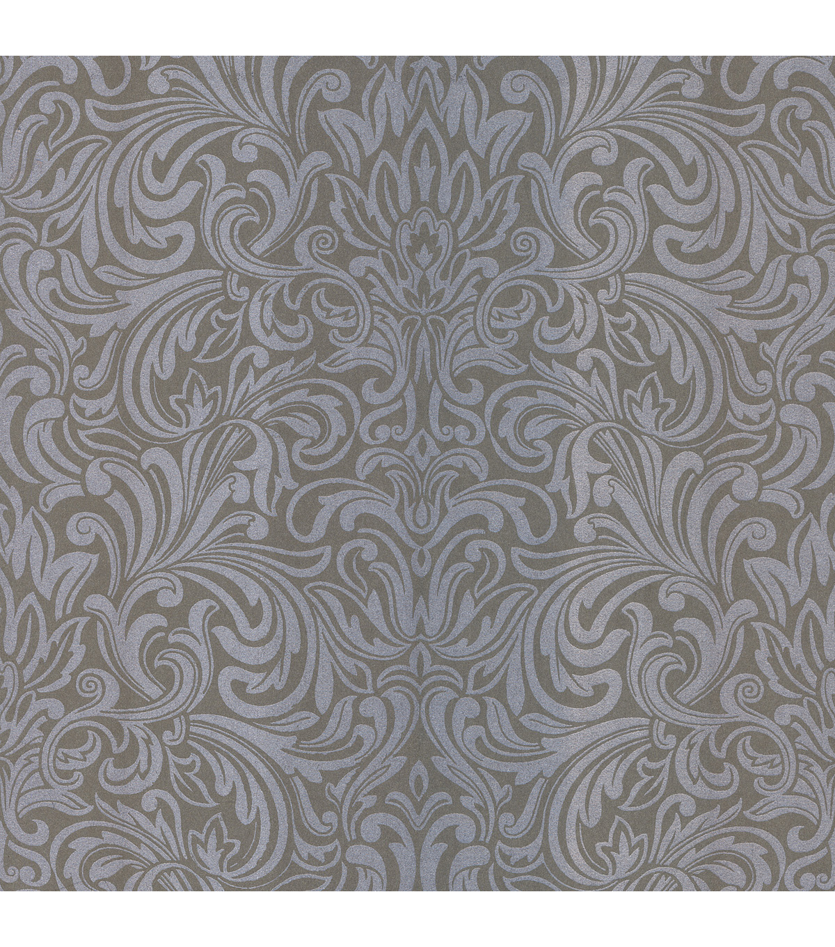 Royale Silver Wavy Damask Wallpaper