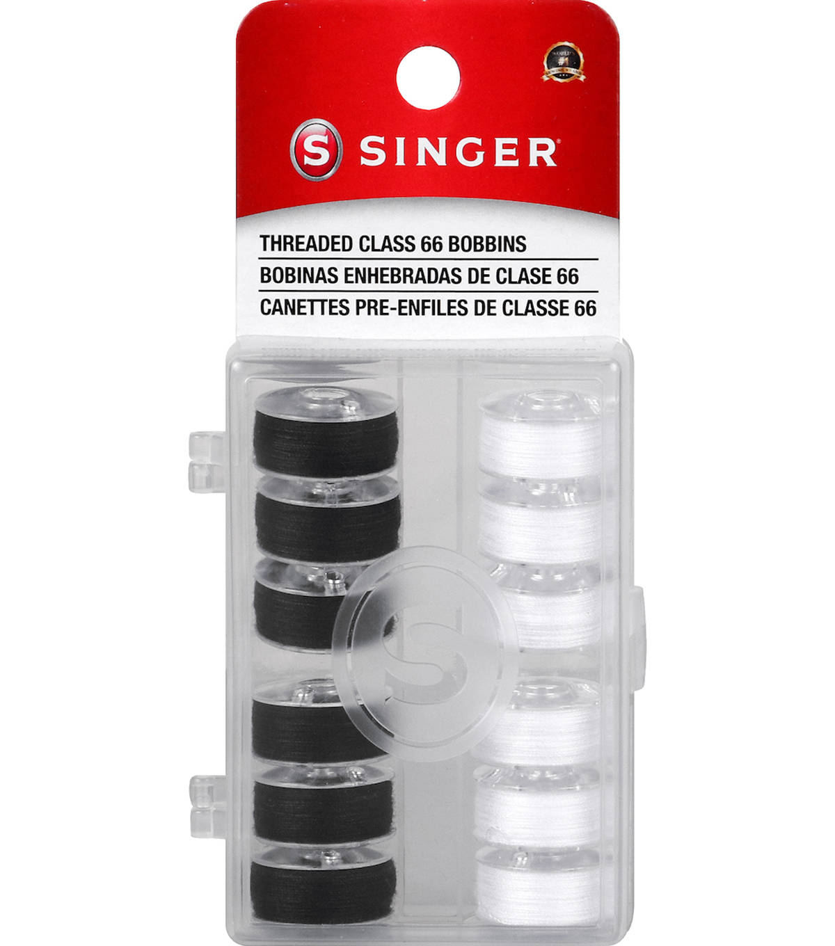 12 Threaded Class 66 Bobbins (Black & White)