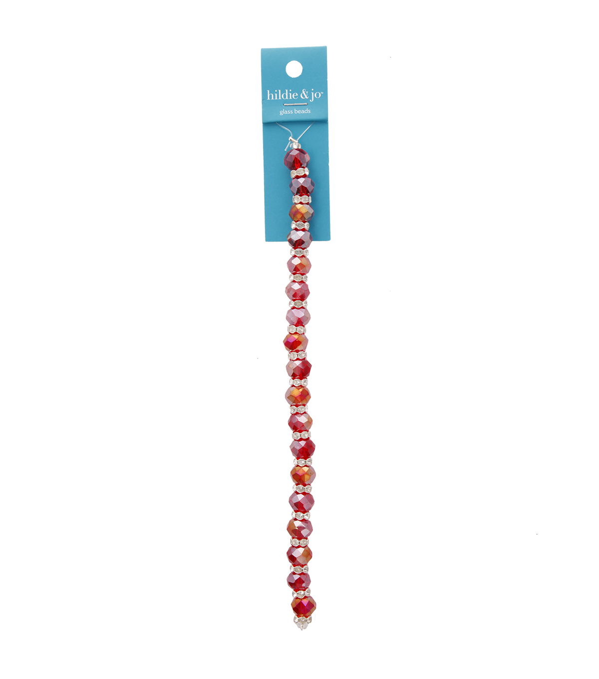 Blue Moon Beads 7\u0022 Crystal Strand, Rondelles with Metal Spacers, Red