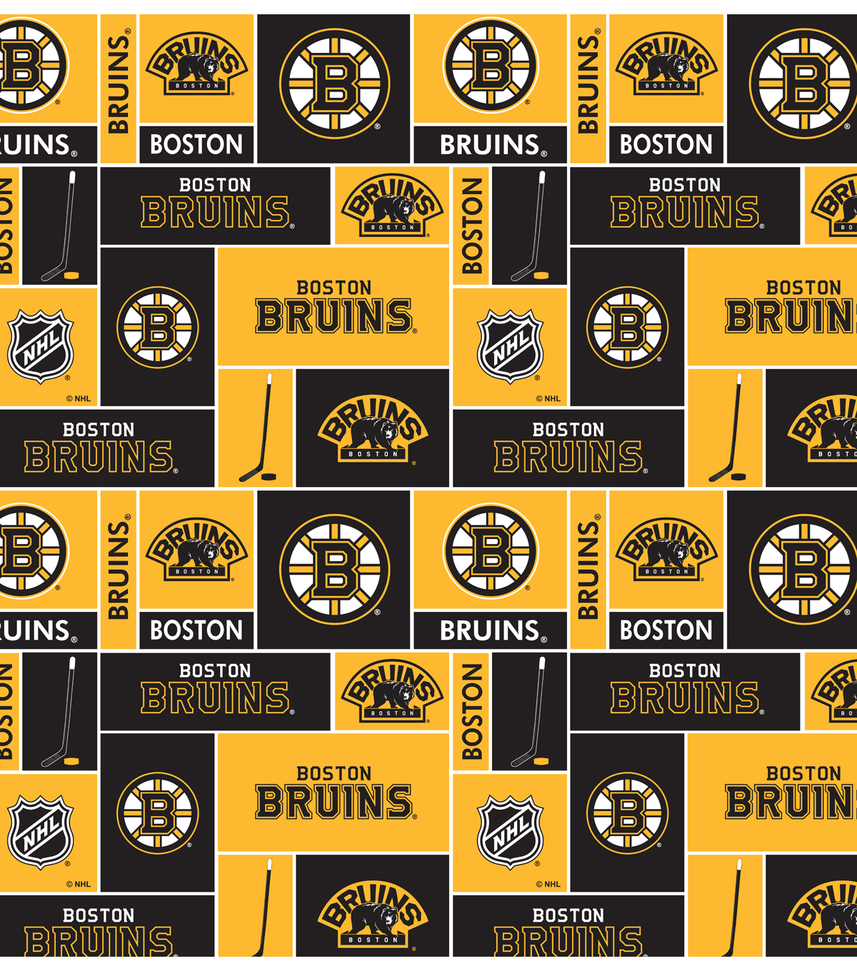 Boston Bruins Cotton Fabric 43\u0027\u0027-Block