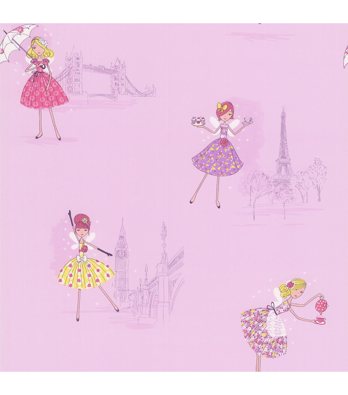 Fairy Tea Time Purple European Party Wallpaper Sample