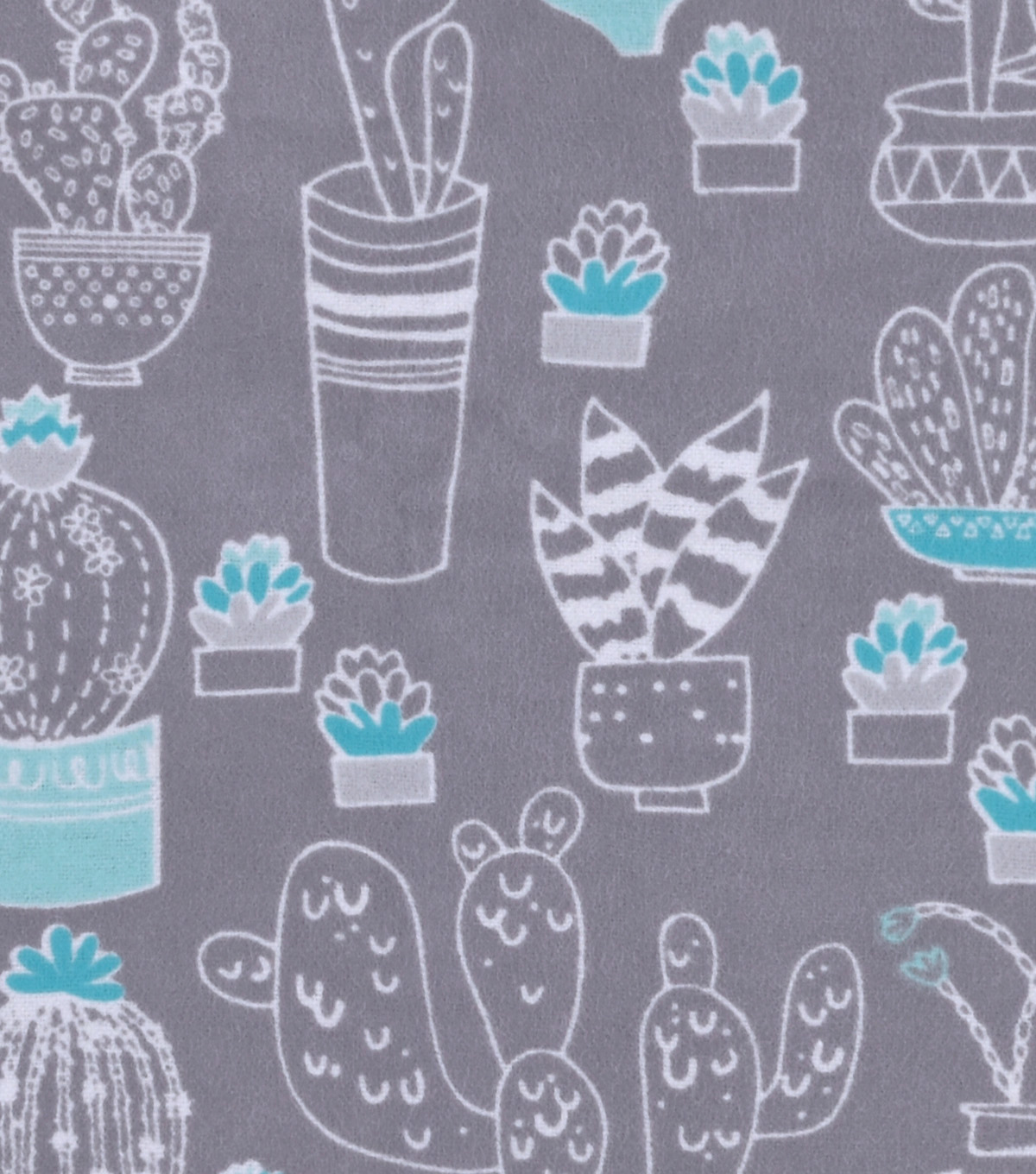 Snuggle Flannel Fabric 42\u0022-White Cactus On Gray