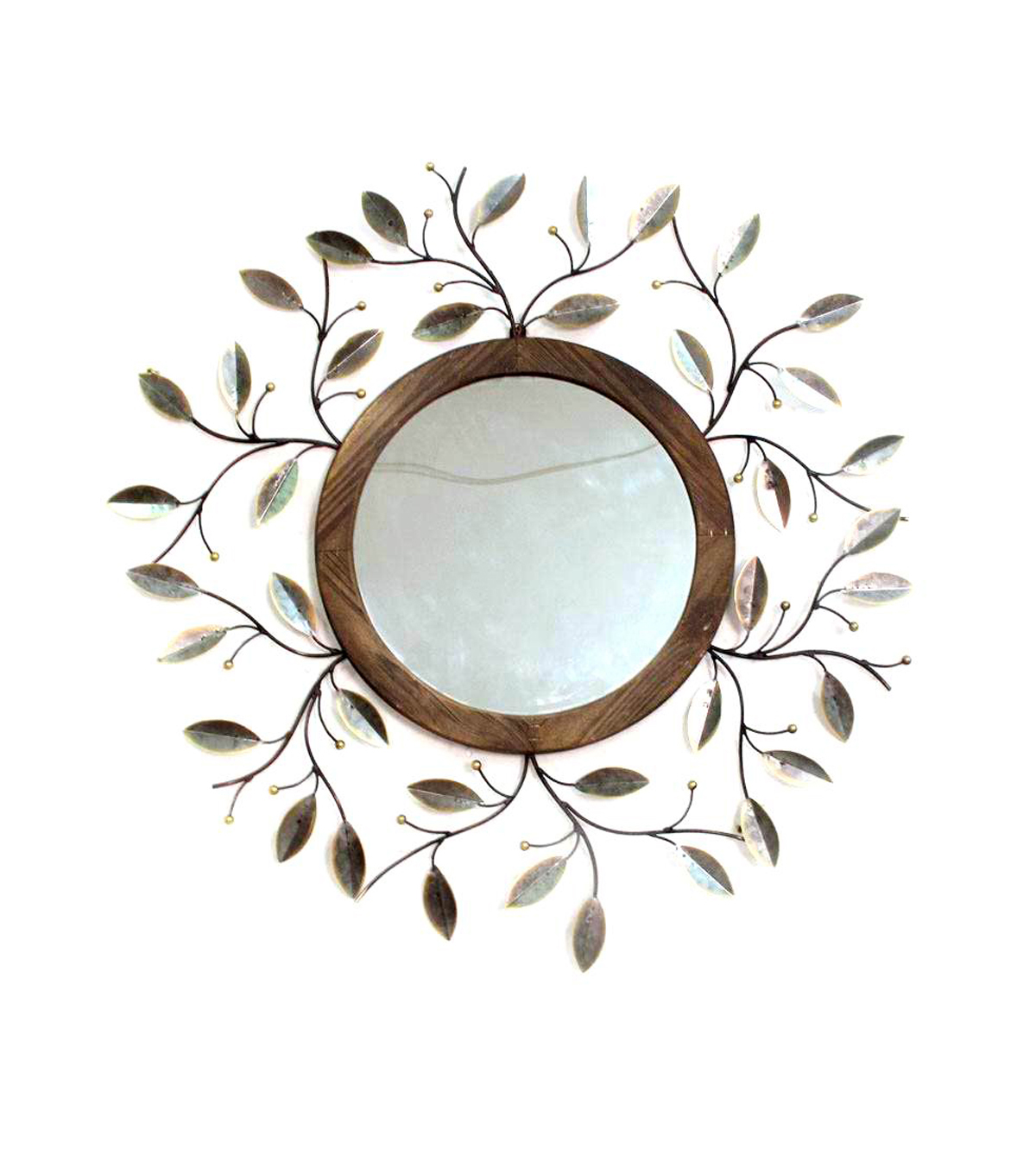 Fall Into Color Metal Mirror with Leaves