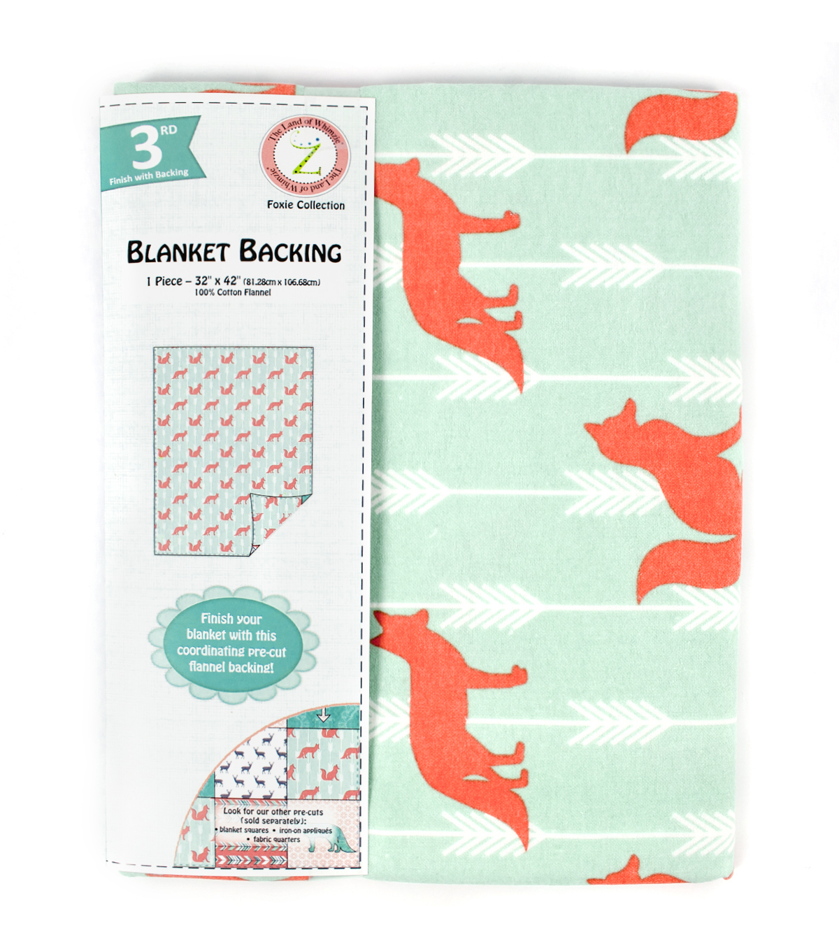 Land of Whimzie Foxie Flannel Blanket Backing - 1 piece 32\u0022 x 42\u0022