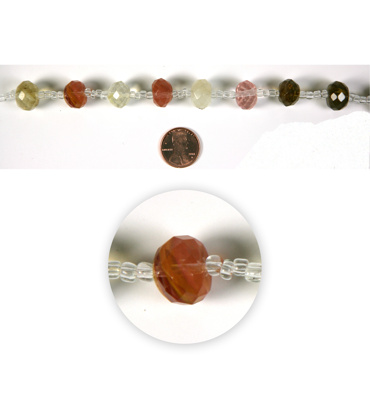 Blue Moon Strung Faux Amber Glass Beads,Rondelle,Amber,Facetted