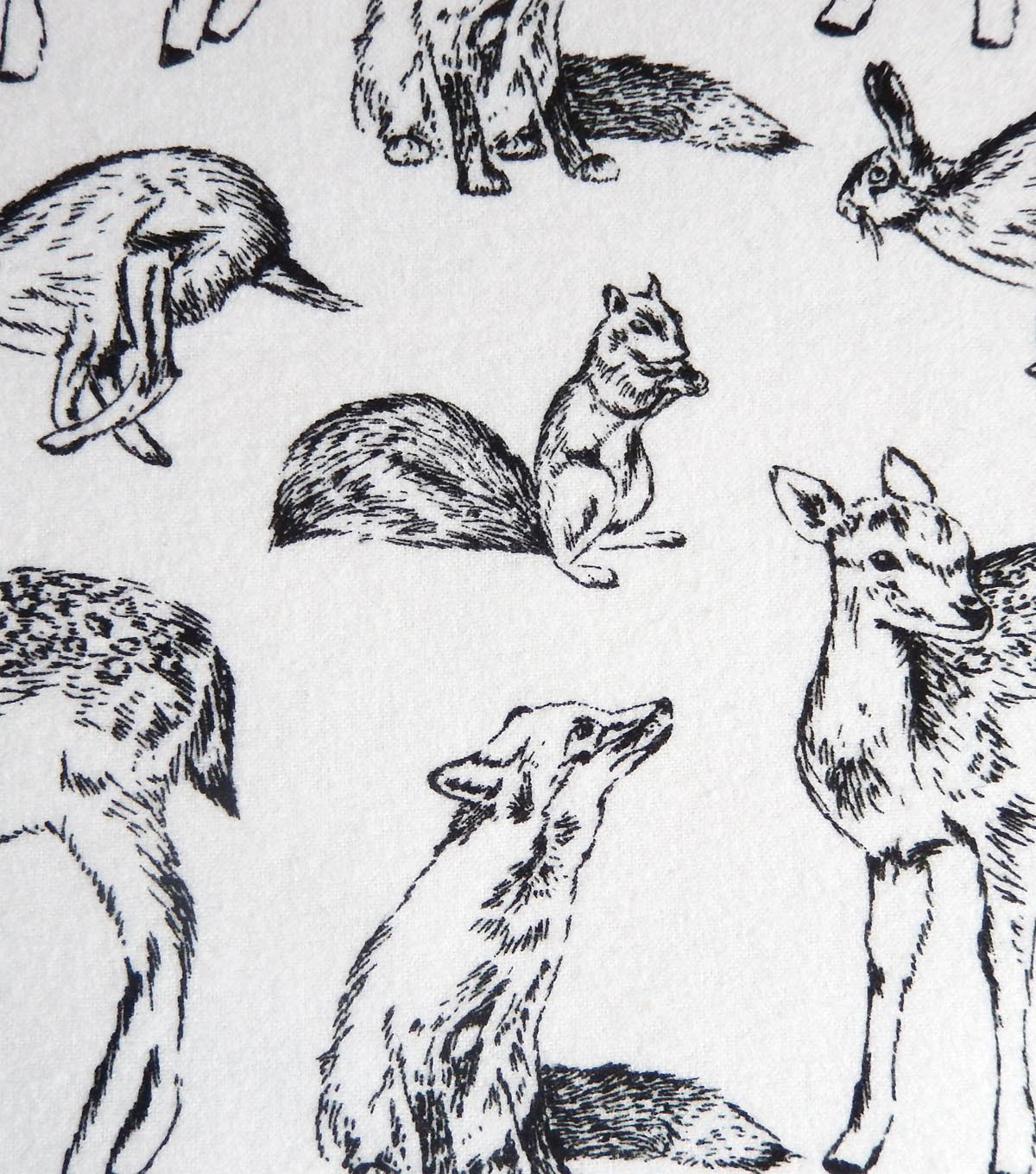 Snuggle Flannel Fabric 42\u0022-Bw Woodland Animals