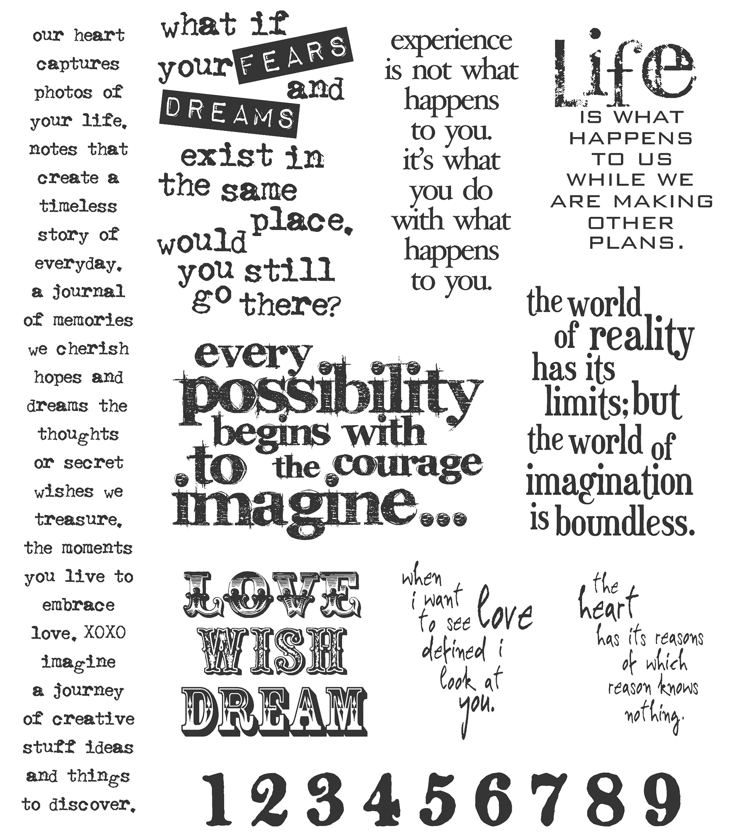 Tim Holtz Large Cling Rubber Stamp Set-Stuff To Say