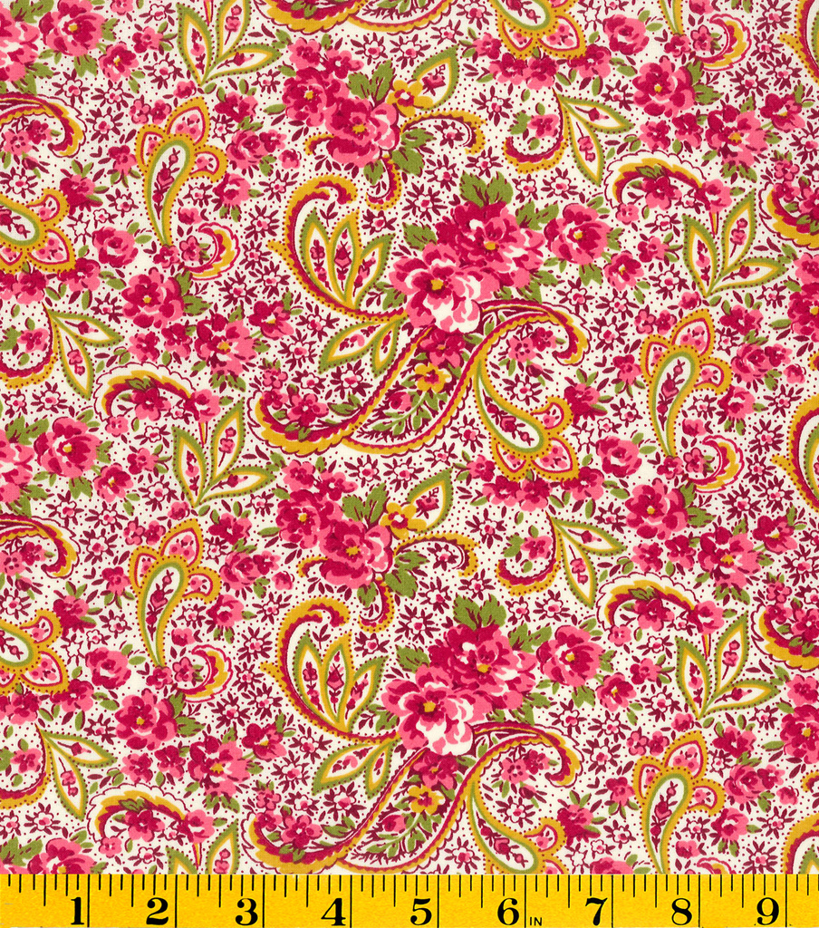 Premium Cotton Fabric-Mia Paisley Pink