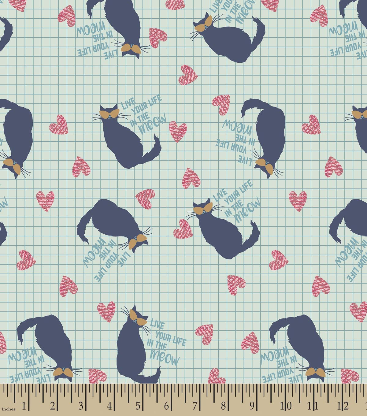 Live Your Life Meow Print Fabric