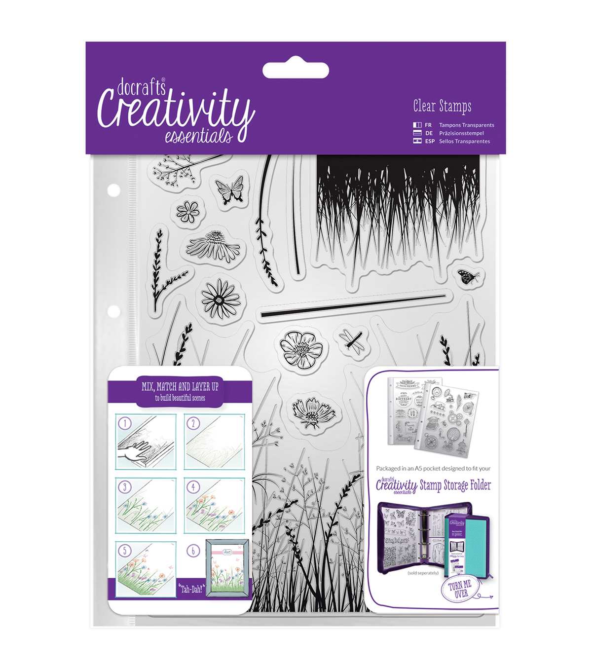 Docrafts Creativity Essentials A5 Clear Stamp Set-Meadow