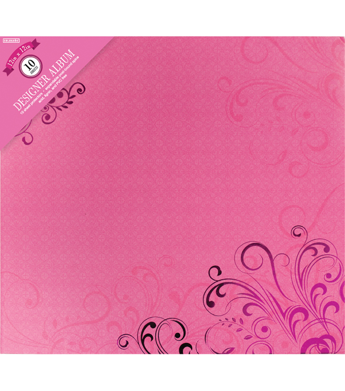 Colorbok Post Bound Album 12\u0022X12\u0022-Pink Butterflies