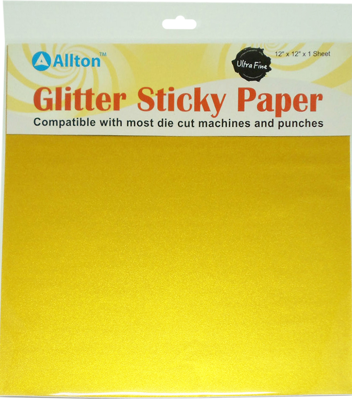 "Allton 12""X12"" Ultra Fine Glitter Sticky Paper-Golden Yellow"