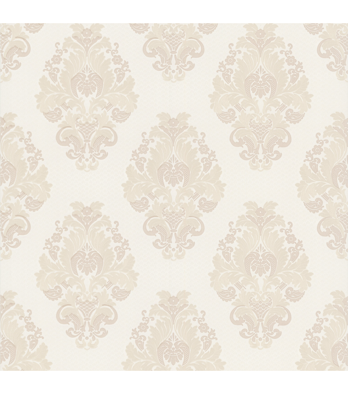 Bromley White Satin Damask Wallpaper Sample