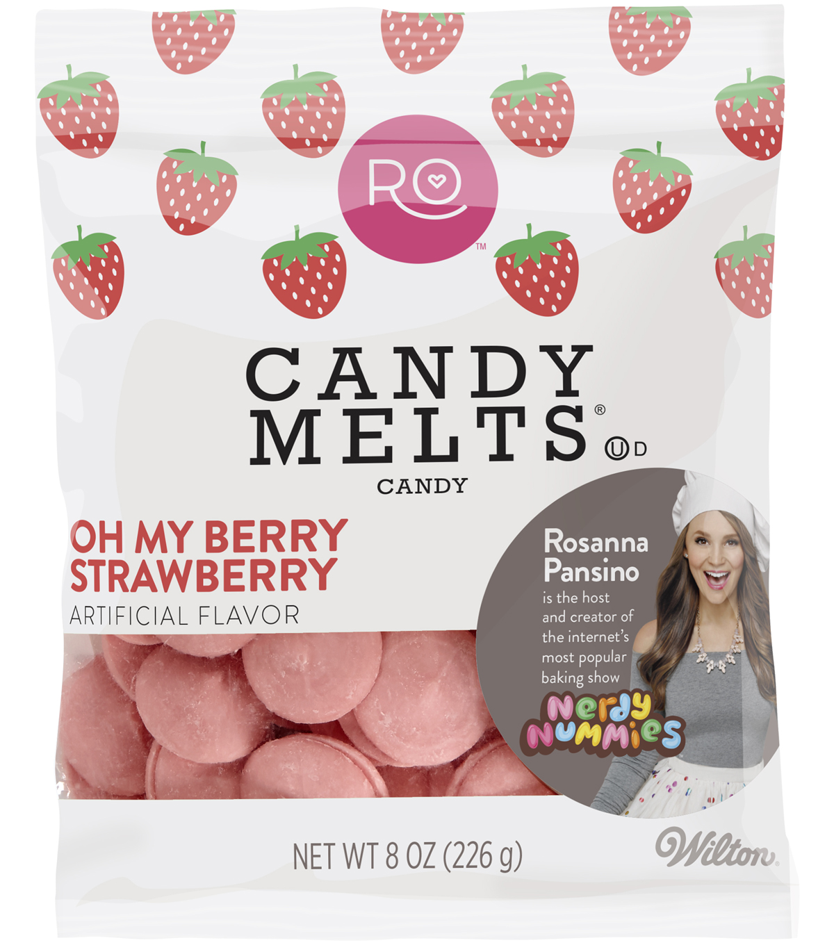 Rosanna Pansino By Wilton 8oz Candy Melts Candy-Oh My Berry Strawberry