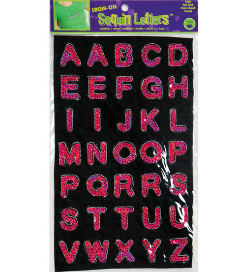 Dritz Iron-On Sequin Letters Block Hot Pink