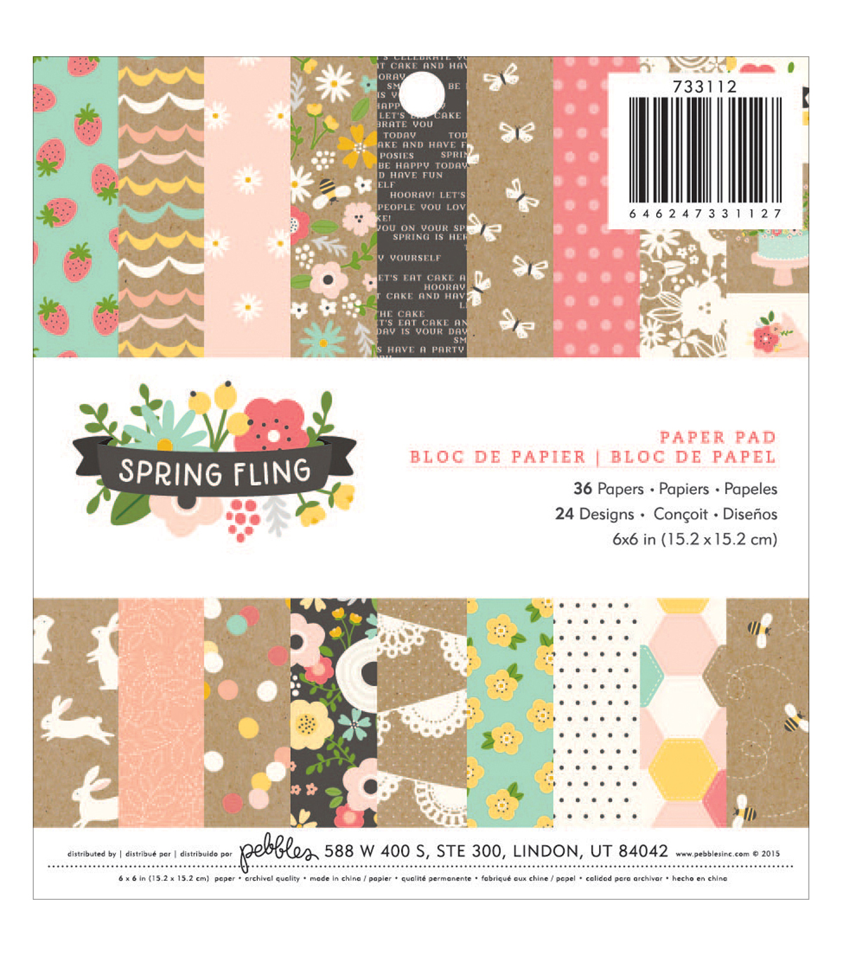 Pebbles Spring Fling 36 Pack 6''x6'' Single-Sided Paper Pad