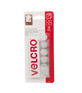 VELCRO® Brand  Thin Clear Fasteners 5/8in circles. 15 ct.