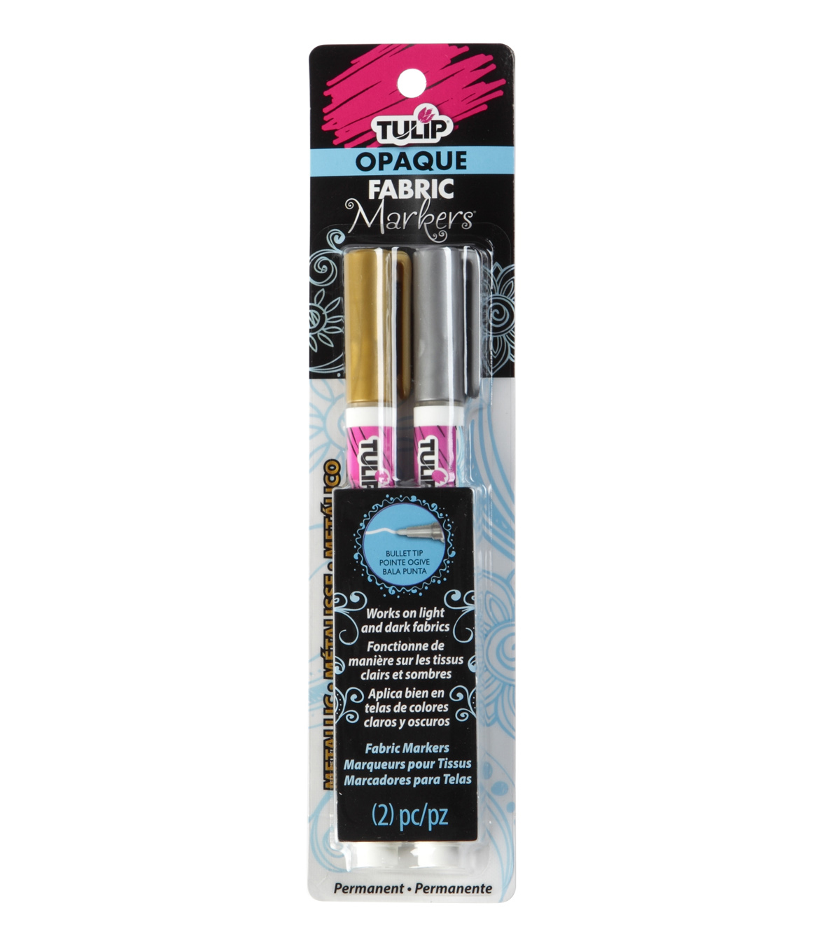 Tulip® 2 Pack Opaque Fabric Markers-Metallic