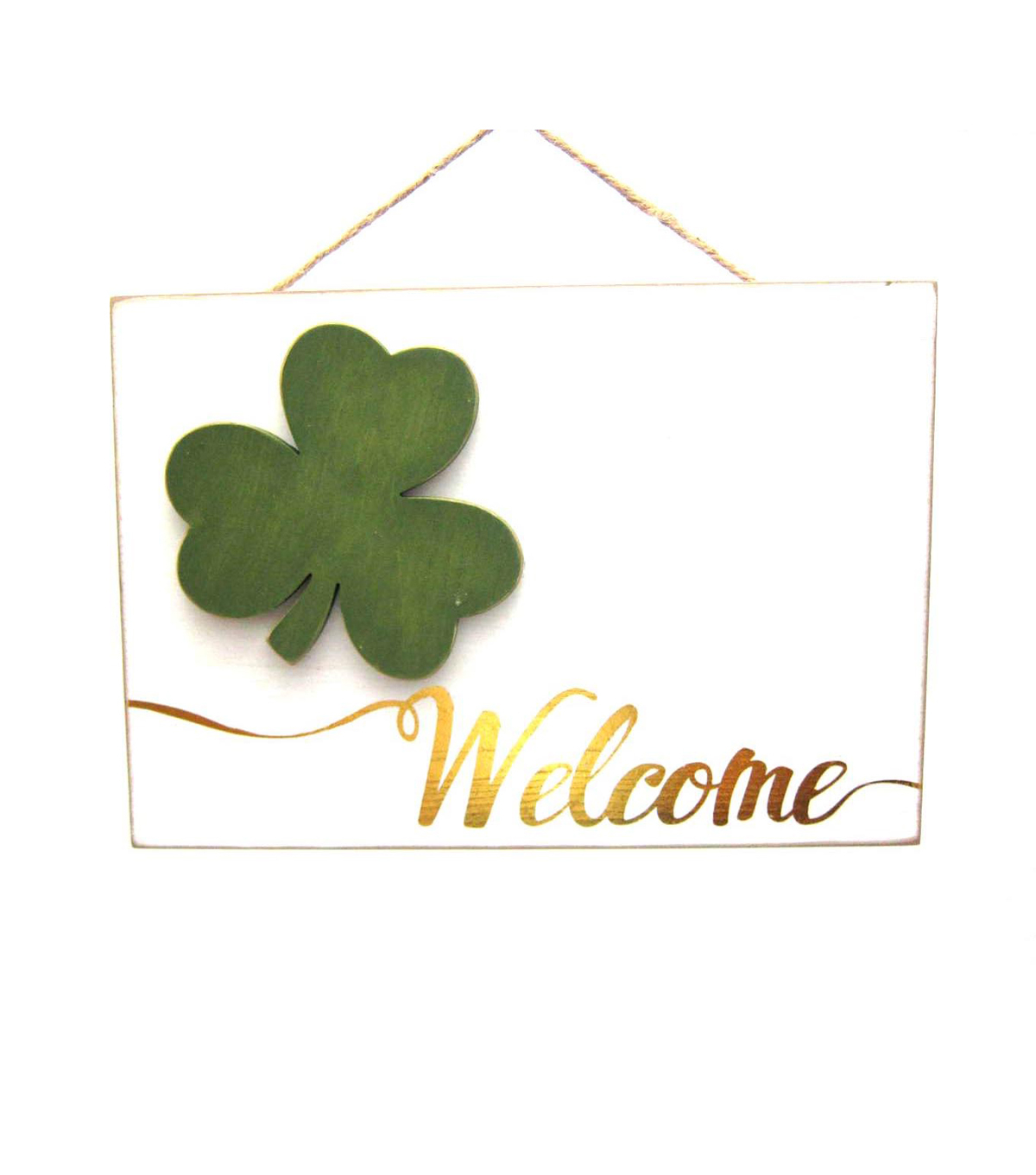 St. Patrick\u0027s Day Shamrock Welcome Wall Decor-White