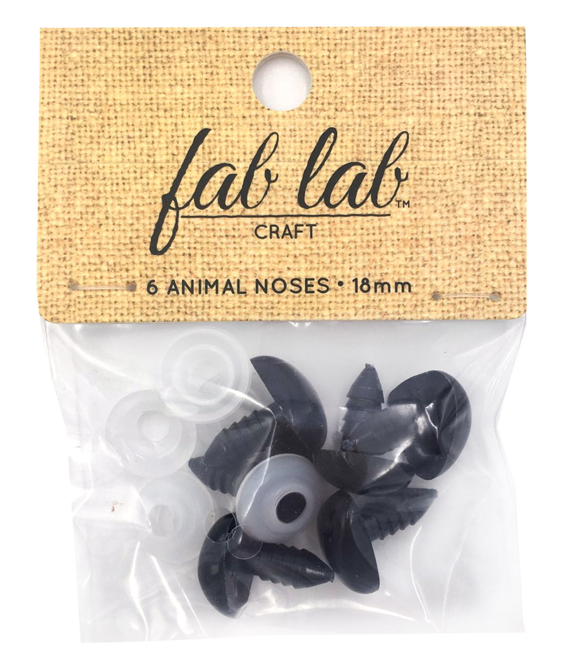 Darice Shank Back Animal Noses 18mm 6/Pkg-Black