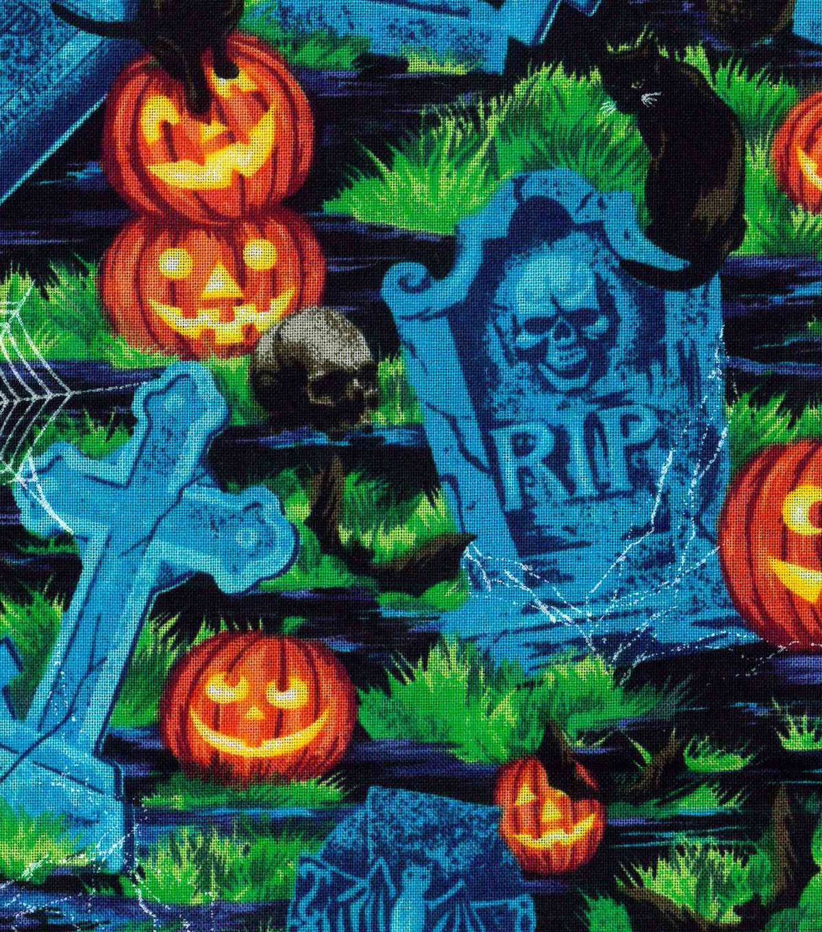 "Halloween Cotton Fabric 43""-Creepy Graveyard"