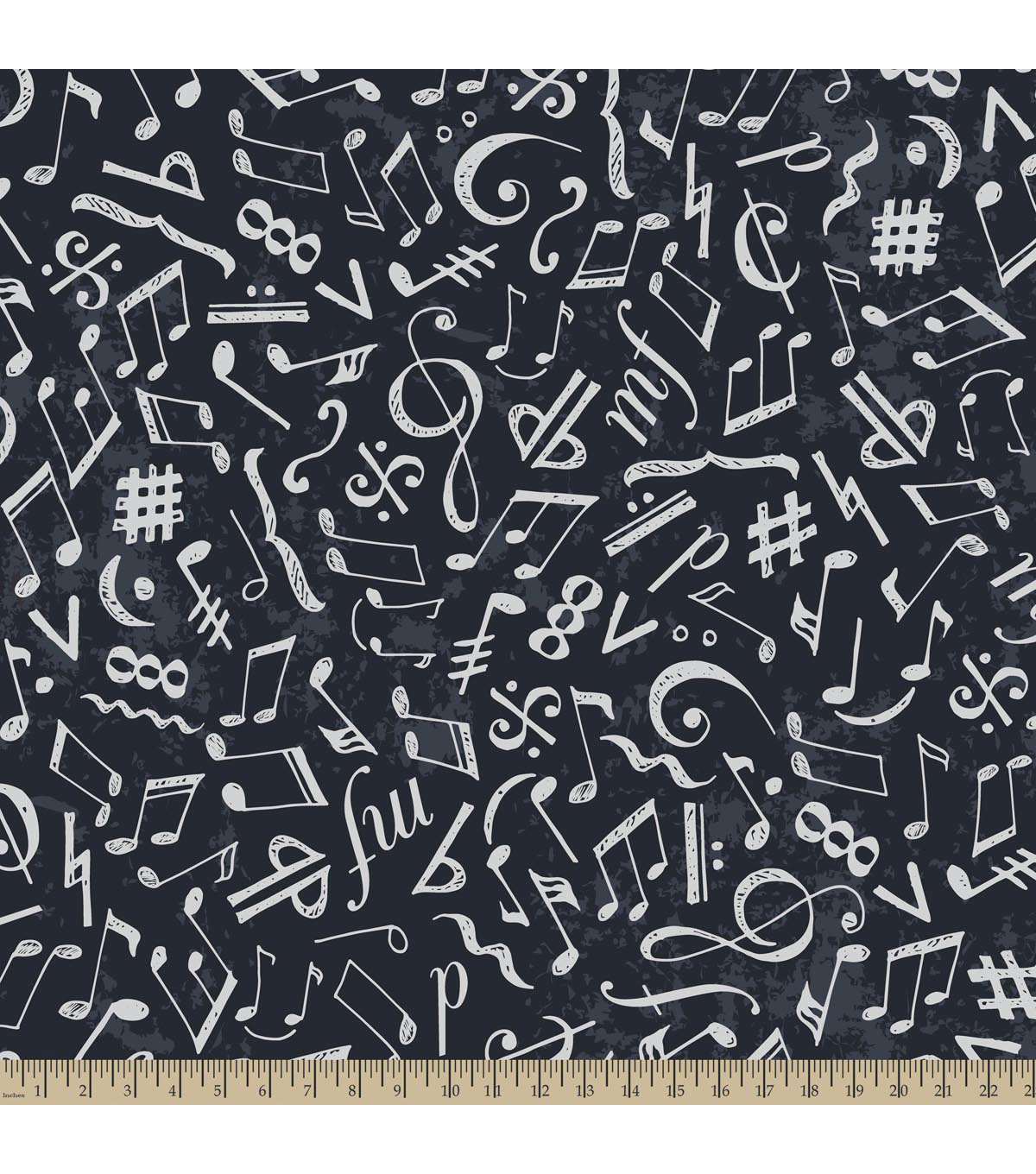 Anti-Pill Fleece Fabric 59\u0022-Chalkboard Music Notes Navy
