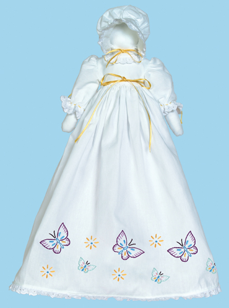 Jack Dempsey Stamped White Pillowcase Doll Kit Butterflies Galore