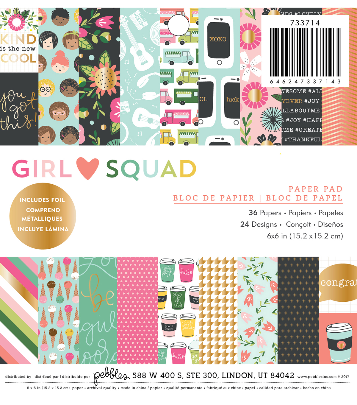 "PeBubblees Single-Sided Paper Pad 6""X6""-Girl Squad"