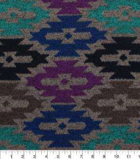 Sweater Knit Fabric 59\u0022-Purple Aqua Geo