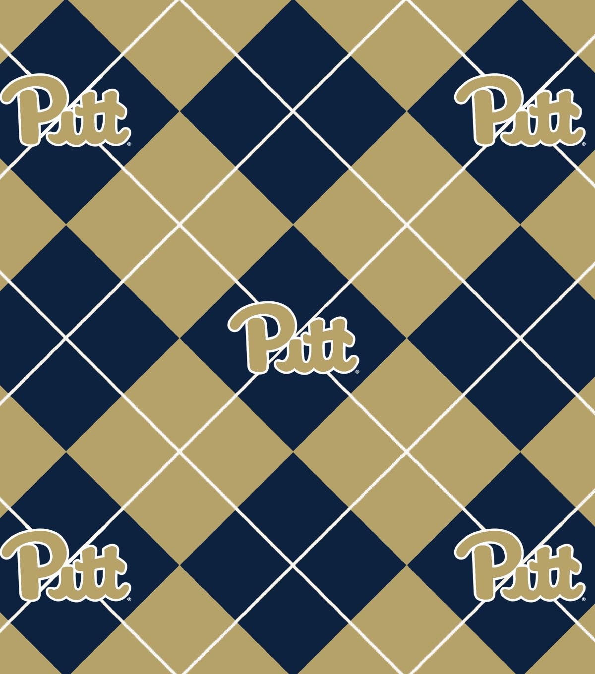 University of Pittsburgh Panthers Fleece Fabric 58\u0022-Argyle