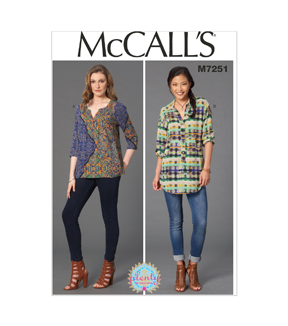 Mccall Pattern M7251-E50-Misses' Blouses-14-16-18-20-22