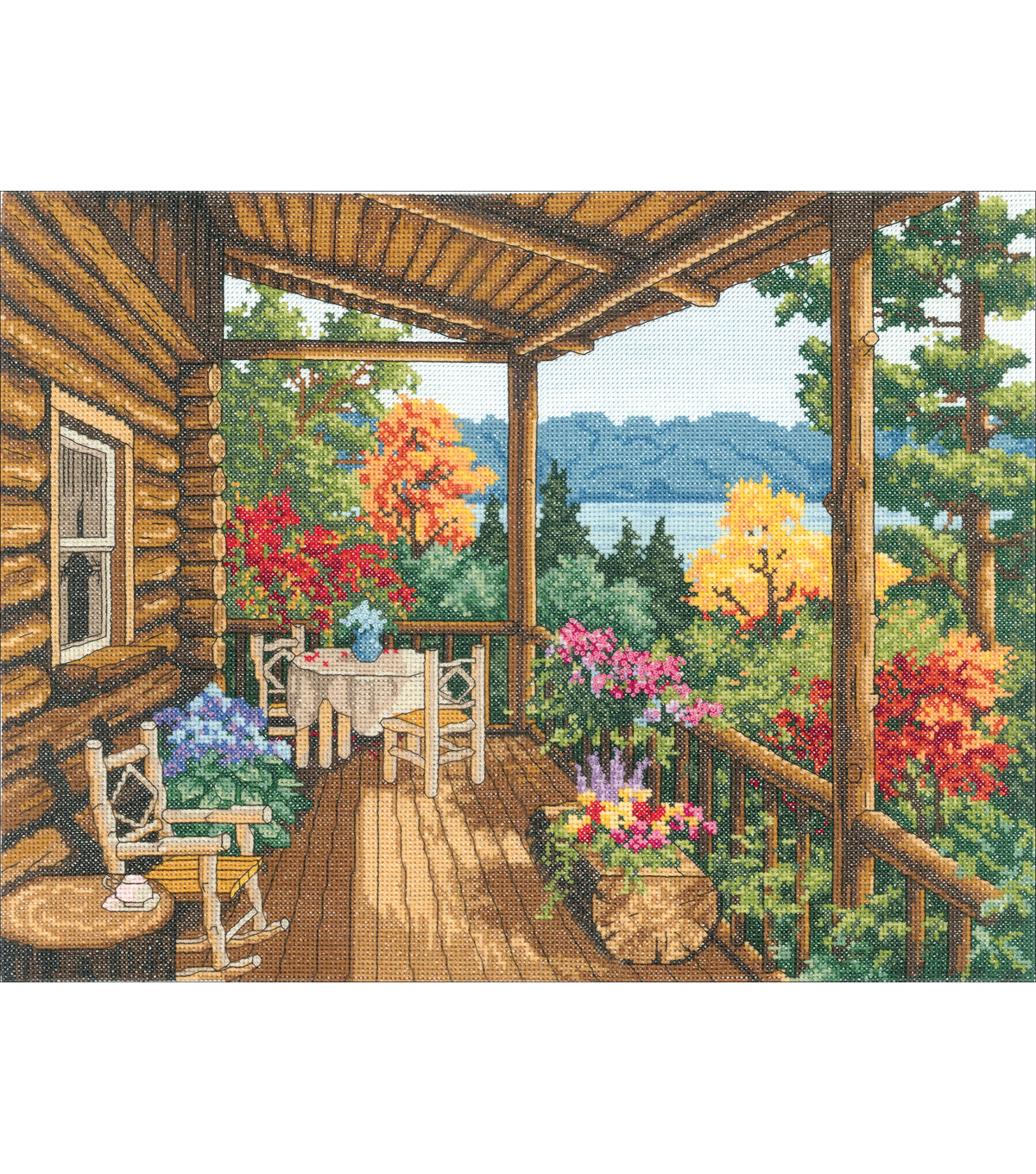Log Cabin Covered Porch Counted Cross Stitch Kit-16\u0022X12\u0022 14 Count