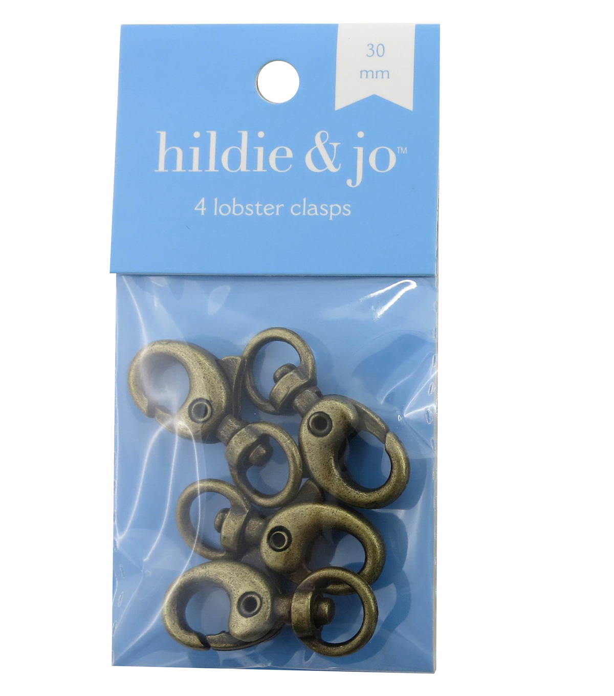 hildie & jo™ 4 Pack 30mm Lobster Clasps-Ox Brass